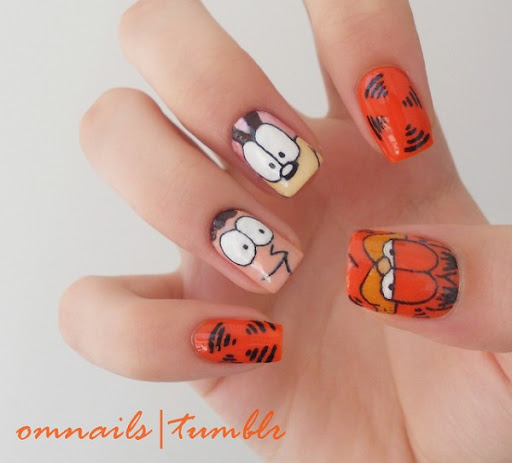 Cartoon comics inspired creative nail art fashion candy garfield comics nail art garfield via prinsesfo Image collections
